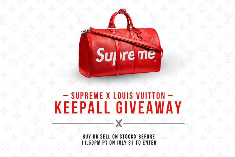 58cc82b1b537 Supreme Louis Vuitton Keepall Bag StockX Giveaway