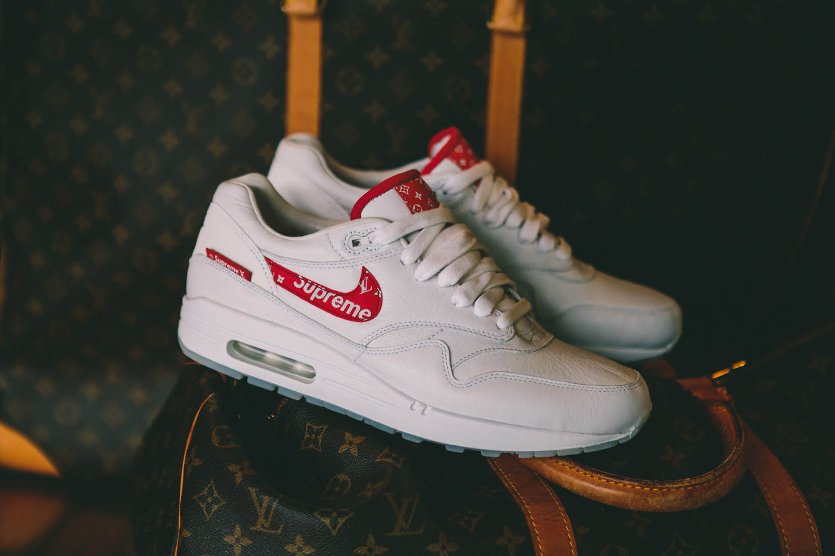 Supreme Louis Vuitton Nike Air Max 1 Custom BespokeIND Sneakers Footwear  Shoes Collaboration 2017 Box Logo
