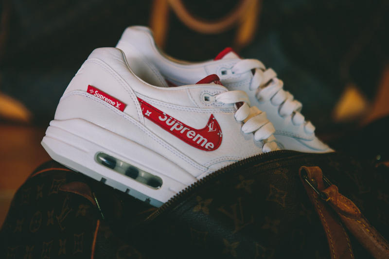 Supreme Louis Vuitton Nike Air Max 1 Custom BespokeIND Sneakers Footwear Shoes Collaboration 2017 Box Logo Monogram Red