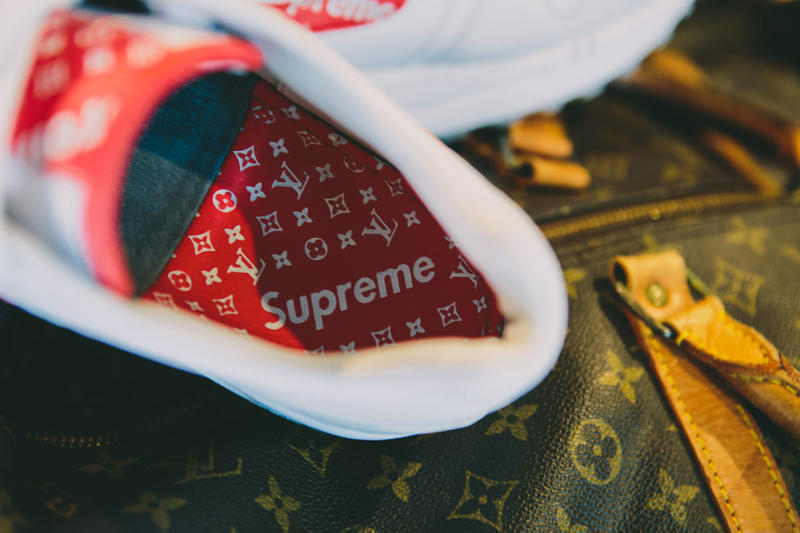 promo code de704 dda7d Supreme Louis Vuitton Nike Air Max 1 Custom BespokeIND Sneakers Footwear  Shoes Collaboration 2017 Box Logo
