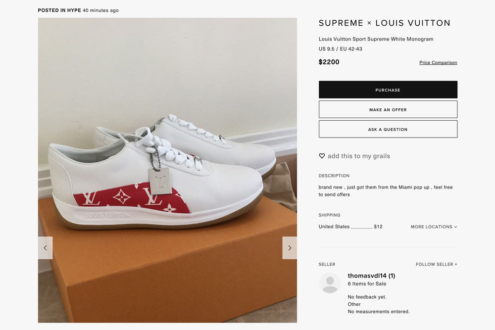 1a2724186 Sport Sneakers (Retail Price – 680 Euro (Approx. $775 USD)):. Supreme x  Louis Vuitton ...