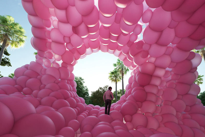 Cyril Lancelin Town and Concrete Pyramid Pink Balloons Architecture Design Installation