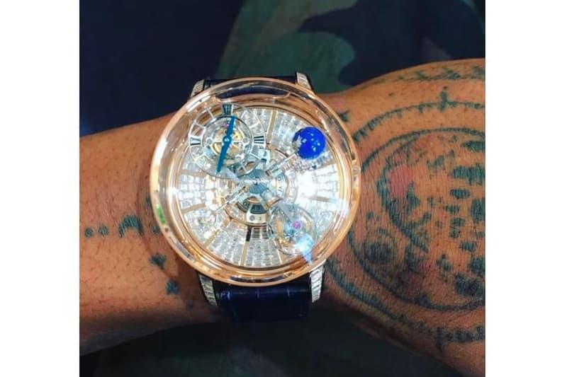 70c564766 Peep the rose gold Astronomia diamond Baguette timepiece in action. Travis  Scott Jacob   Co. Watch