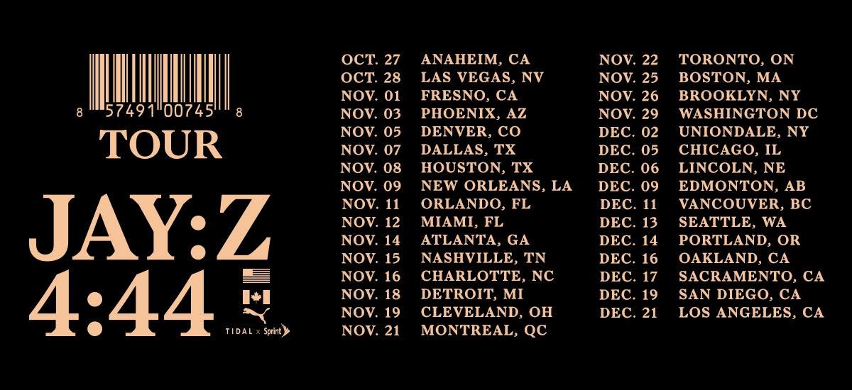 JAY Z 444 North American Tour Hov Tidal RocNation