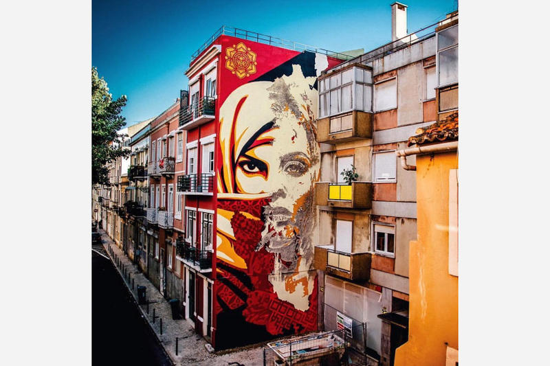 Vhils Obey Giant Shepard Fairey Mural Collaboration Lisbon Portugal Artwork Street Art