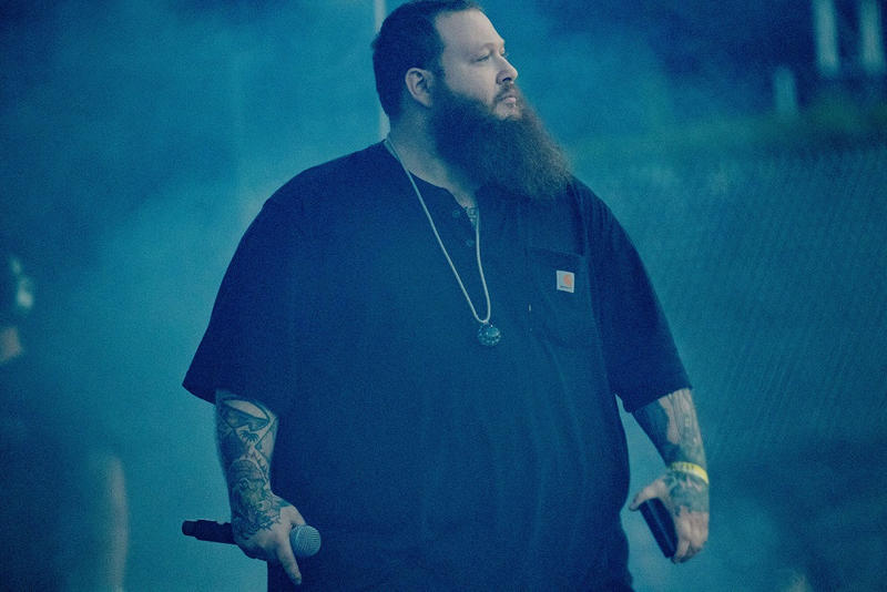 Action Bronson Rick Ross 9-24-7000 Blue Chips carhartt stage performance concert jewelry necklace diamonds beard festival