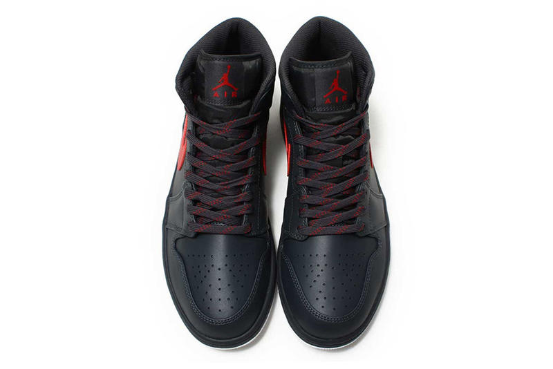 Air Jordan 1 Mid Anthracite and Gym Red