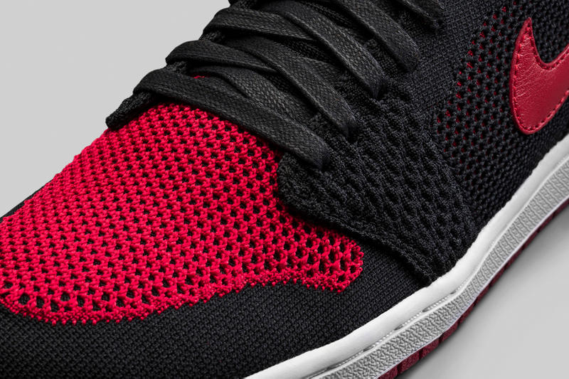 separation shoes 73d57 fe471 Air Jordan 1 Retro Hi Flyknit Black White Varsity Red