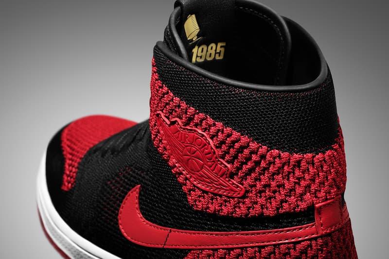 Air Jordan 1 Retro Hi Flyknit Black White Varsity Red