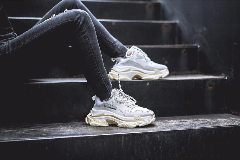 306cffafff20 Balenciaga Triple S Cream White Black On Foot Dad Look Vibes Chunky Shoes  White