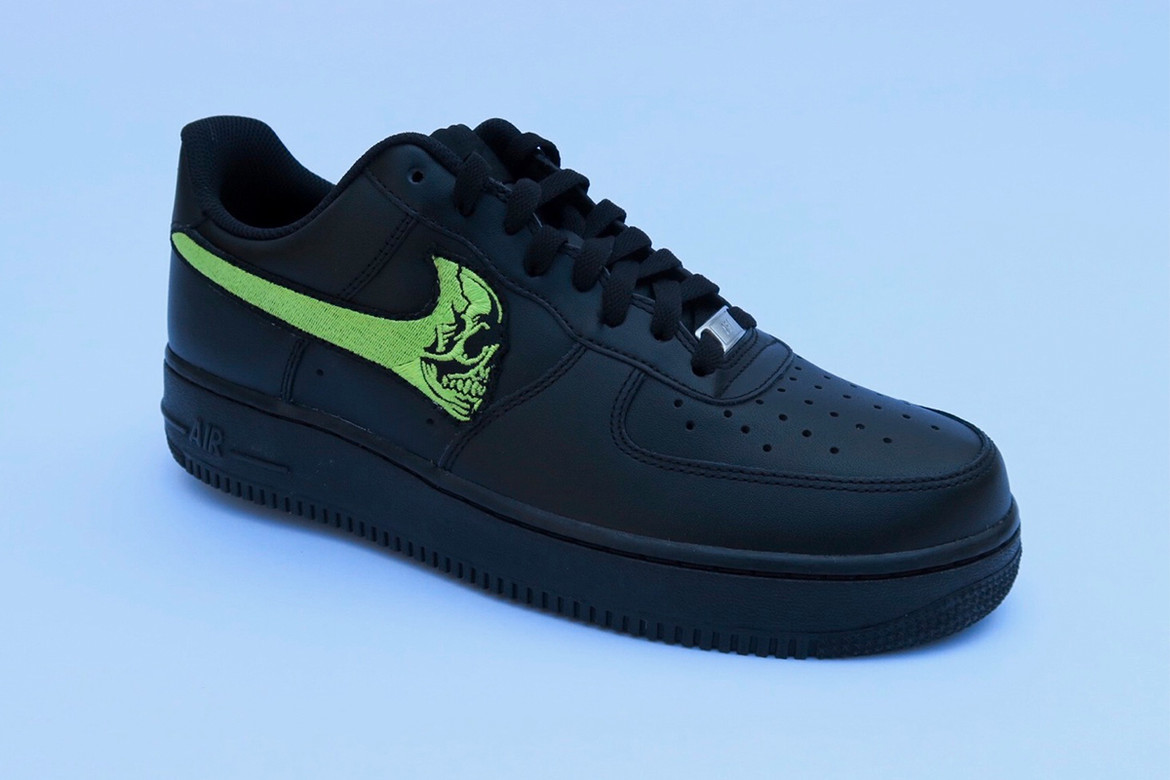 Bill By Warren Lotas Skull Force Nike Air Force 1s Black Green