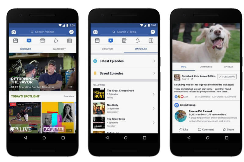 Facebook Watch App YouTube Feature Video Mobile Phone