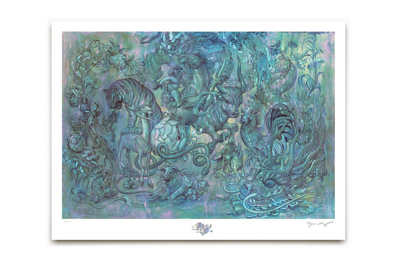 James Jean Hunting Party II Print Art Artwork Chinese Zodiac animals tiger ox chicken rooster monkey bull
