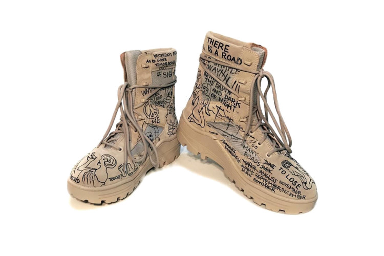 84719d60598 John Mayer Gets a Doodle-Filled Pair of YEEZY Season 4 Military Boots
