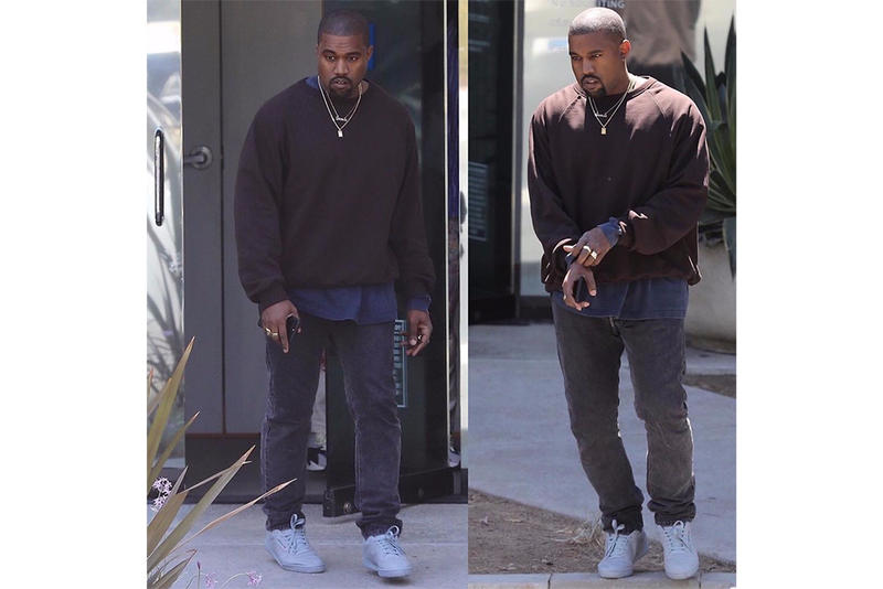 Kanye West Wears Previously Unseen Tonal Gray Powerphase adidas Yeezy Calabasas