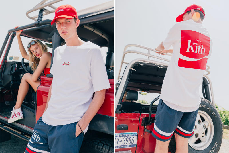 d85d299e95b KITH Coca Cola Capsule Collection Lookbook red hoodie blue swim trunks  Converse Chuck Taylor red surfboard