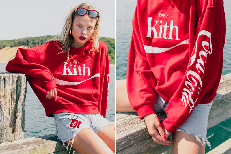 KITH Coca Cola Capsule Collection Lookbook red hoodie blue swim trunks Converse Chuck Taylor red surfboard
