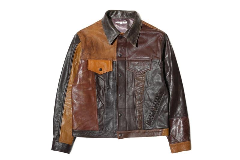 Needles Patchwork Leather Trucker Jacket
