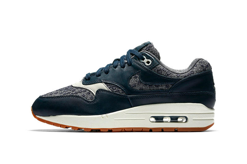huge discount abcf0 6e1ce Nike Air Max 1 Premium Woven Navy With Gum Soles Off White Blue