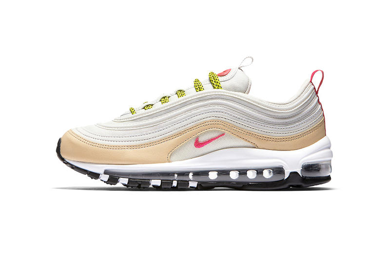 more photos e67a6 be7c9 Nike Air Max 97 White Tan Pink Neon 2017 Holiday Sneakers Shoes Footwear  Release Date Info