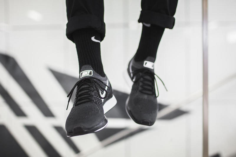 Nike Air Zoom Mariah Flyknit Racer Black White Colorway Set On Feet