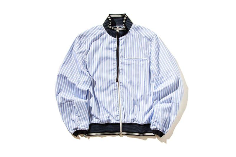 OAMC Team Shirt  Padded Short Sleeve Full Zip Blue White Stripe 2017 Fall Winter