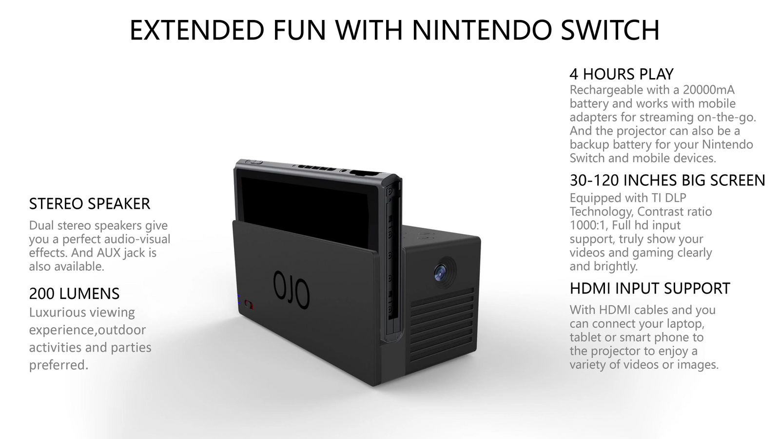 The OJO Projector Nintendo Switch Accessory
