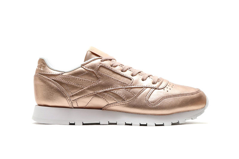 Reebok Leather Classic Club C Shiny Metallic Rose Gold Colorway