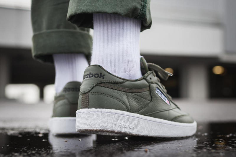 Reebok Club C 85 Overbranded Hunter Green Colorway Military Forest Leather Upper Shoe Sneaker