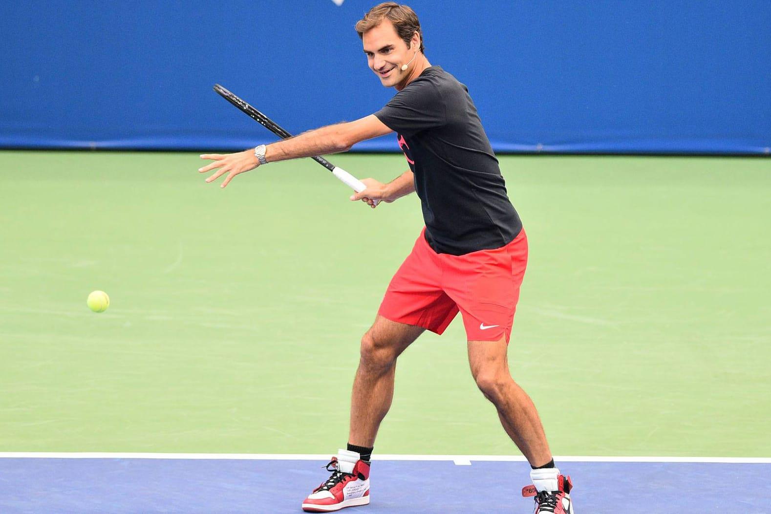 Federer Wears Virgil Abloh x Nike Air