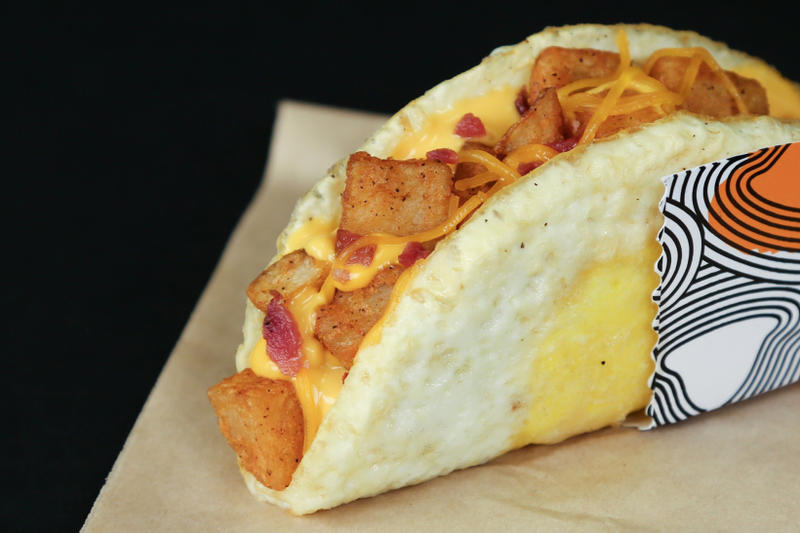 Taco Bell Naked Egg Taco Fried Egg Shell Breakfast Potatoes Cheese Sausage Bacon Fast Food
