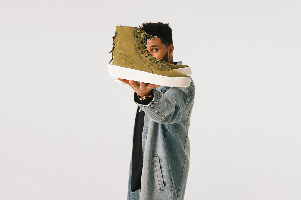 the weeknd puma parallel sneaker shoe collection clothing apparel fashion style footwear news photoshoot streetwear jeans tees t-shirt denim jacket