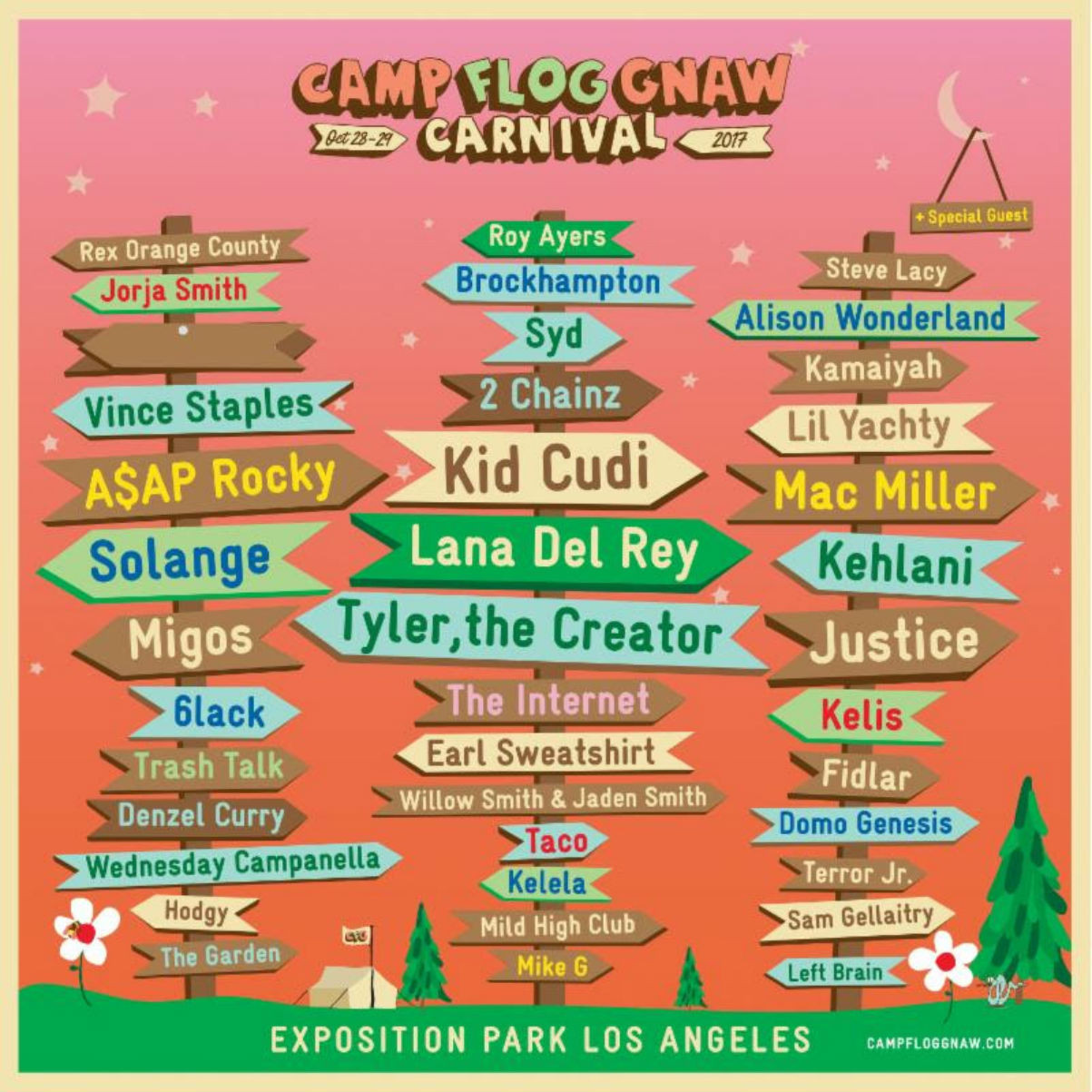 Camp Flog Gnaw Carnival 2017 Lineup Flyer Tyler ASAP Rocky Lana Del Rey
