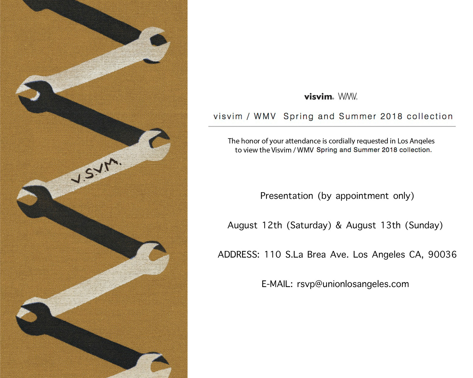 visvim 2018 Spring Summer Trunk Show Union Los Angeles 2017 August 12 13 Announcement