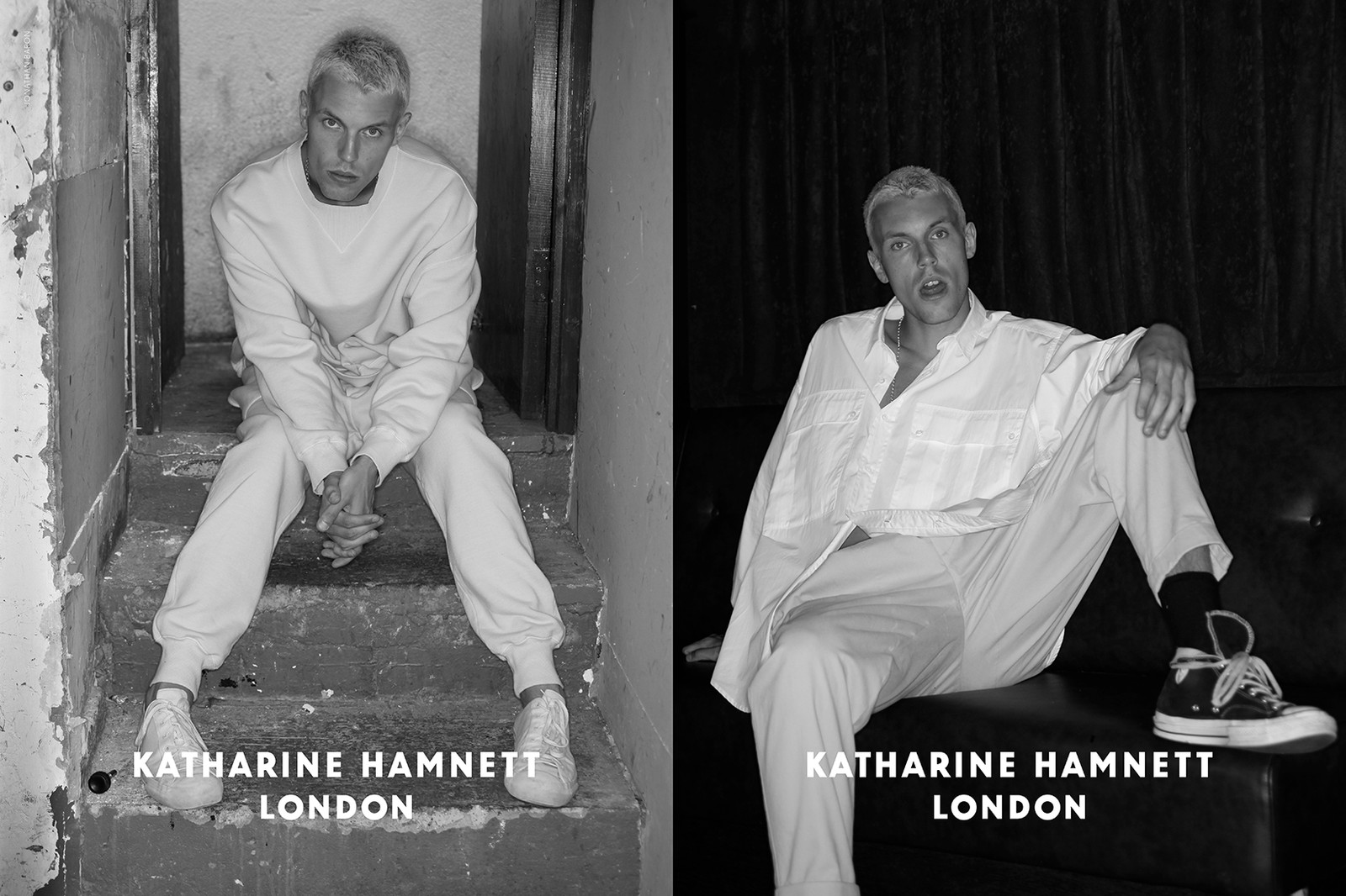 Katharine Hamnett Fall/Winter 2017 Menswear Interview Relaunch t-shirts tees kanye west clothing style fashion designer typography slogan 58% DON'T WANT PERSHING Margaret Thatcher