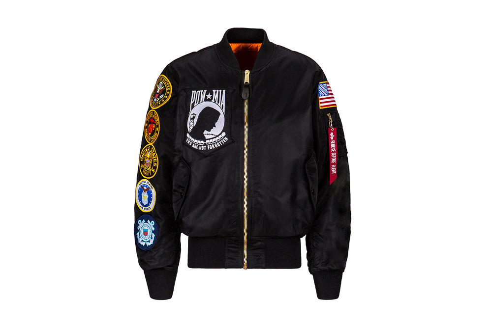 Alpha Industries MA 1 POW MIA You Are Not Forgotten Fear the Bones Flight Jacket Limited Edition