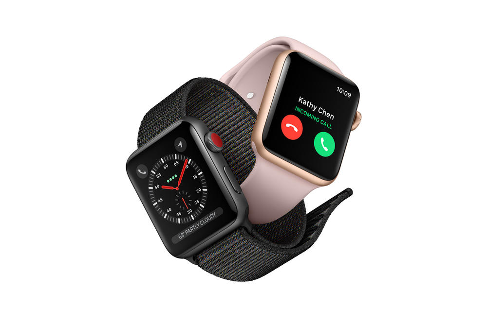 apple watch series 3 cellular lte connectivity cellphone details spec specifications keynote talk tim cook barometric altimeter wifi w2 chip