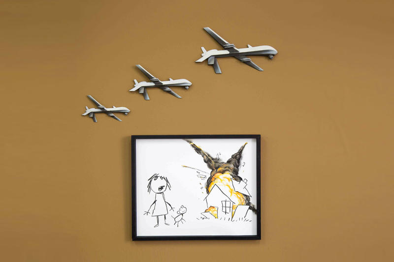 Banksy Anti Weapons Artwork Art The Arms Fair Contribution Work Civilian Drone Strike