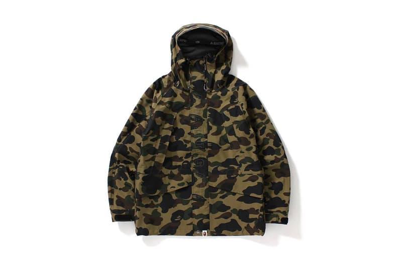 69ab42dbbda7b BAPE 1ST CAMO GORE TEX Snowboard Jacket Long Hoodie Jacket A Bathing Ape  Green Yellow Camouflage