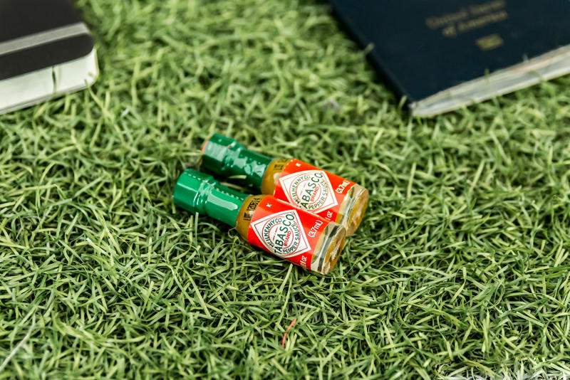 Essentials: Curren Caples mini Tabasco sauce close up