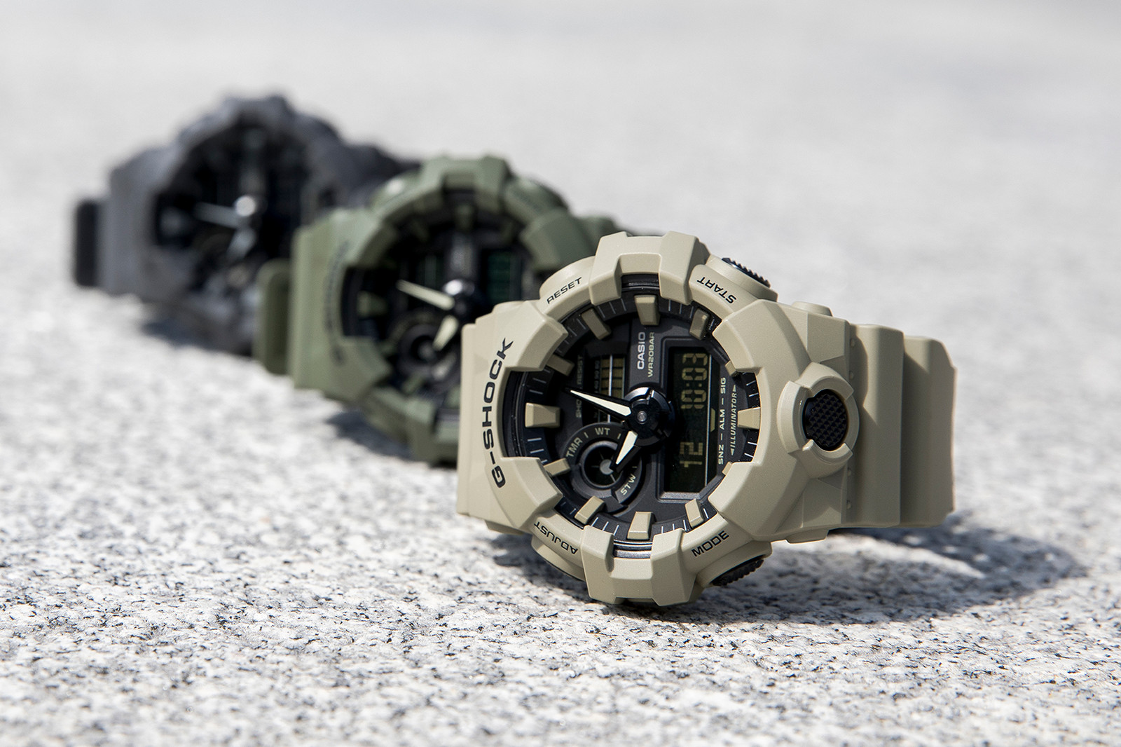 G-Shock Utility Color Collection, Lookbook, GA700UC, olive tree, tan, dark grey, military