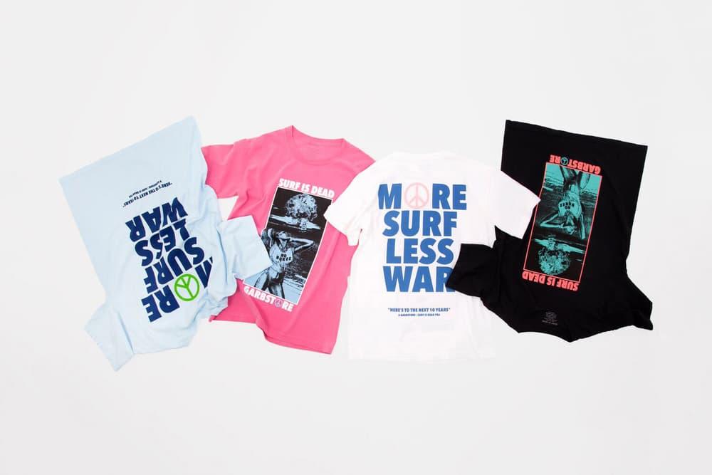 Garbstore Surf Is Dead 10 Year Anniversary T Shirt Collaboration More Surf Less War Tee