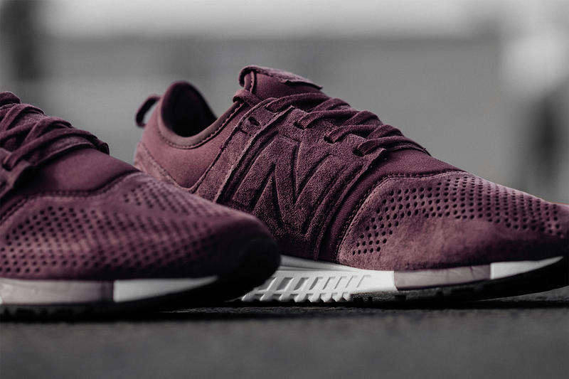 New Balance 247 Burgundy White Suede Neoprene Sneaker Sneakers Shoe Shoes