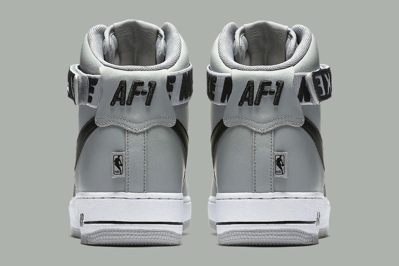 Nike Air Force 1 High NBA Logo Statement Game Edition Light Grey Dark Navy Blue