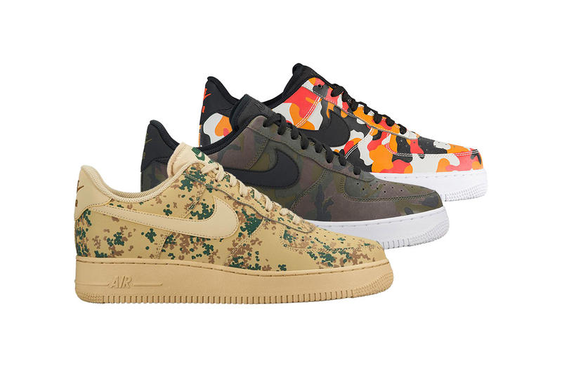 75f9aa6170808 Nike Air Force 1 Low Trio Camo Print Release Date Info Drops Olive Wheat  Green Orange
