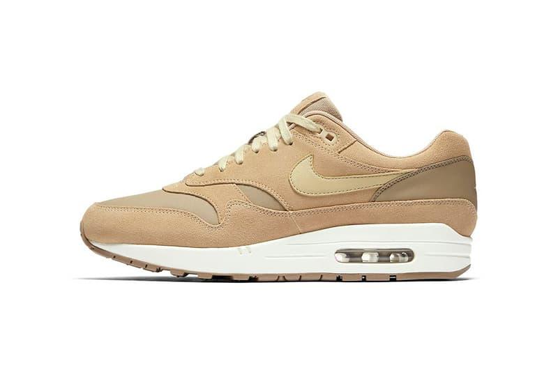 Nike Air Max 1 Premium Khaki Team Gold Mushroom Sail 2017 Fall Release Date Info Sneakers Shoes Footwear Leather Suede Tan