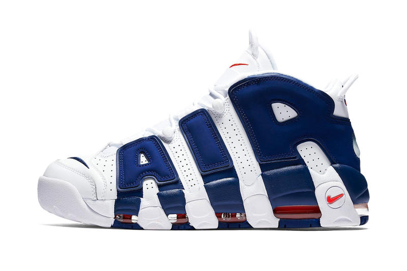 Nike Air More UptempoNew York Knicks Scottie Pippen Patrick Ewing white royal orange footwear blue navy