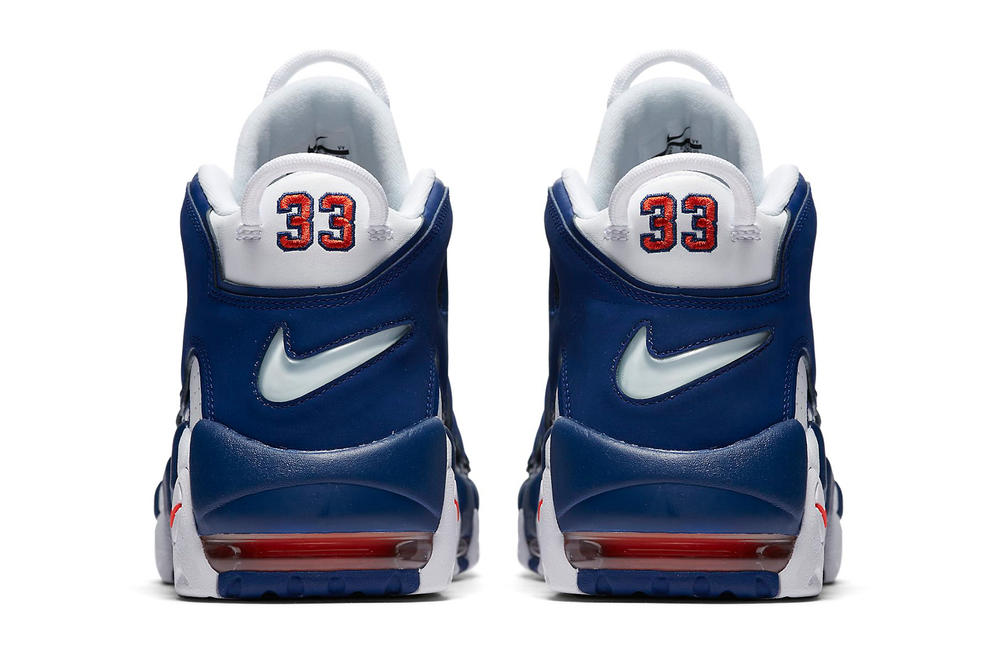 Nike Air More UptempoNew York Knicks Scottie Pippen Patrick Ewing white royal orange footwear blue navy