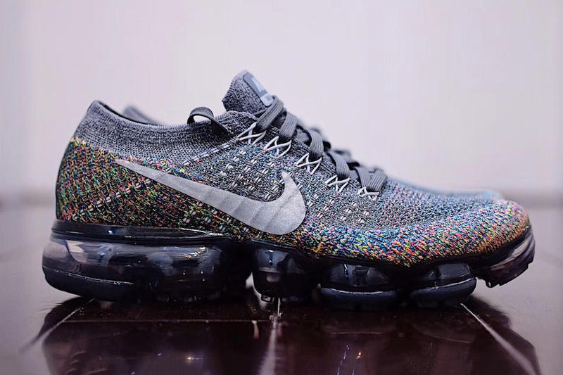 sports shoes e9617 ea5f2 Nike Air VaporMax grey gray multicolor rainbow sneakers shoes flyknit swoosh