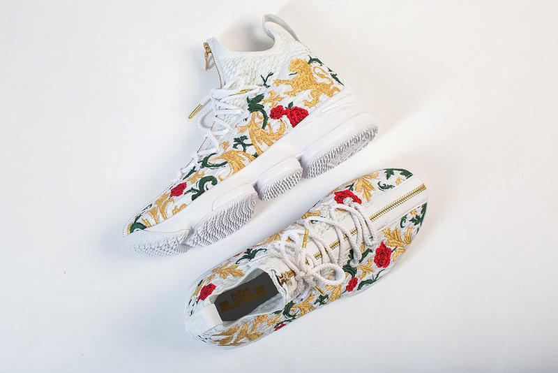 Nike LeBron James 15 Zip Floral Flowers White Sneaker Shoe